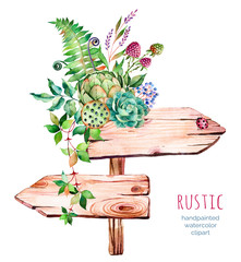 Watercolor wooden pointer.decorated with flowers,succulent plant, artichoke,raspberry,branches,feathers,fern,ladybug,Natural beauty.Rustic illustration.Perfect for blogs,lettering,pattern,invitation