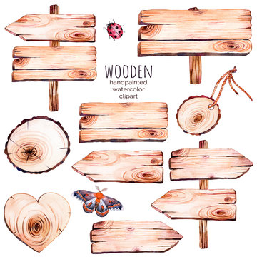 This handpainted collection of 9 watercolor wood slices clipart.Wood pointer, board,wooden heart,butterfly in watercolor.Can be used for frames,invitations,lettering,wedding,greeting cards and more.