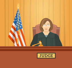 Judge woman in courthouse at tribunal with gavel and flag of USA. Civil and criminal cases public trial. Vector flat illustration. Law and justice conceptual banner