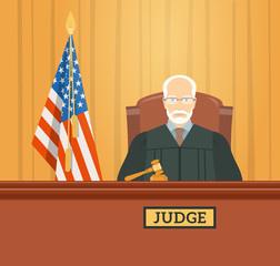 Judge man in courthouse at tribunal with gavel and flag of USA. Civil and criminal cases public trial. Vector flat illustration. Law and justice conceptual banner.