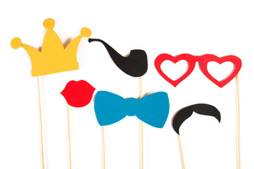 Photo Booth Birthday and Party Set - glasses, hats, crowns, masks, lips, mustaches