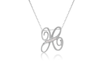 """Decorative Initial """"H"""" Necklace with Flawless Diamonds in Silver"""