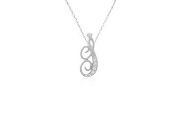 """Decorative Initial """"I"""" Necklace with Flawless Diamonds in Silver"""