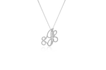 """Decorative Initial """"J"""" Necklace with Flawless Diamonds in Silver"""