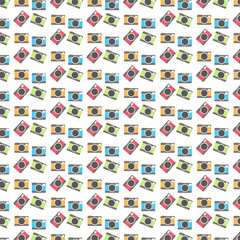 Abstract Vintage Cameras Pattern Background