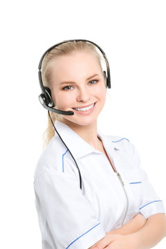 Medical call center operator isolated.