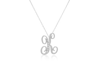 """Decorative Initial """"K"""" Necklace with Flawless Diamonds in Silver"""