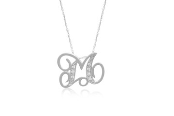 """Decorative Initial """"M"""" Necklace with Flawless Diamonds in Silver"""