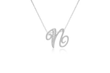"""Decorative Initial """"N"""" Necklace with Flawless Diamonds in Silver"""