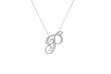 """Decorative Initial """"P"""" Necklace with Flawless Diamonds in Silver"""