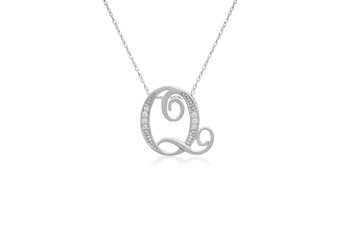 """Decorative Initial """"Q"""" Necklace with Flawless Diamonds in Silver"""