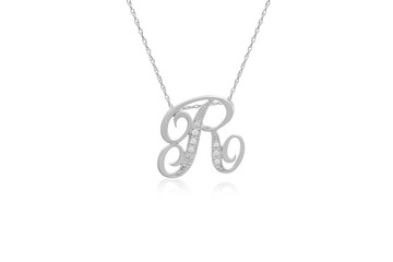 """Decorative Initial """"R"""" Necklace with Flawless Diamonds in Silver"""