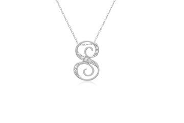 "Decorative Initial ""S"" Necklace with Flawless Diamonds in Silver"