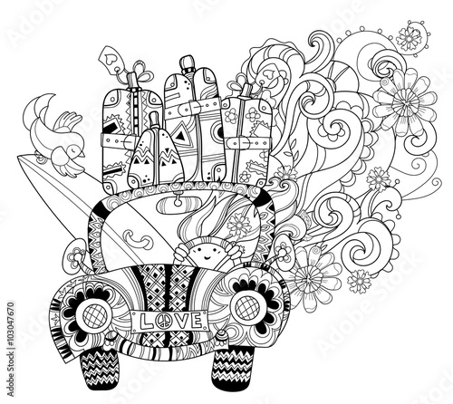 Hand drawn doodle outline holiday car travel decorated with ...