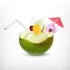 Green coconut cocktail