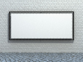 White stretch banner on brick wall background