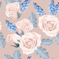 White roses seamless