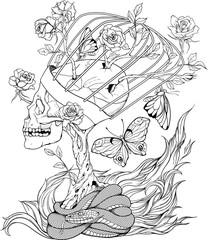 skull, snake, butterflies and flowers