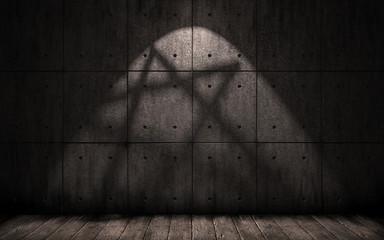 grunge background with shadow in the shape of a pentagram, star, dark underground room