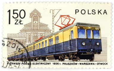 old polish stamp - train
