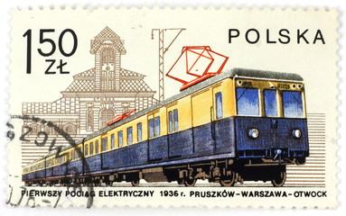 old polish stamp - train