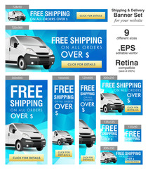 Vector website banner set - customizable Free Shipping banner collection