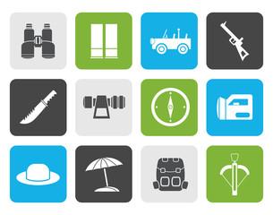 Flat safari, hunting and holiday icons - vector icon set