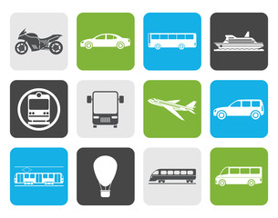 Flat Travel and transportation of people icons - vector icon set