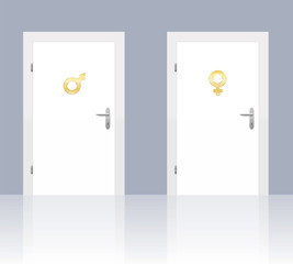 Male and female symbols on two doors - isolated vector illustration background.