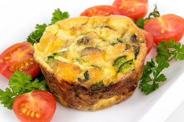 egg muffin cup dinner quiche and omelet style with mushroom spinach and pepper