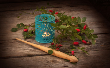 Spindle, a branch of wild rose and lantern