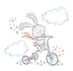 Cute hare on a bicycle. Bunny in the vector. Sweetheart card.