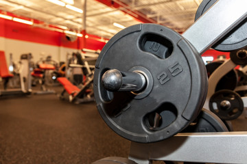 Barbell on Rack at Gym