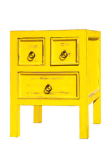 Yellow old cabinet isolate on white background