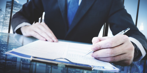 Business Man Writing On A Conference Table Concept