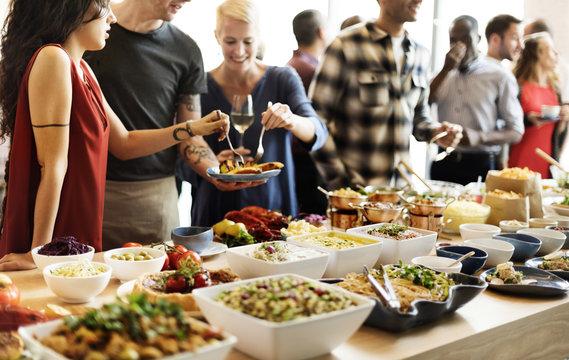Buffet Dinner Restaurant Catering Food Concept
