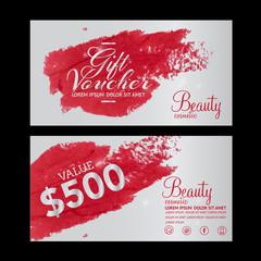 beauty cosmetics gift voucher vector