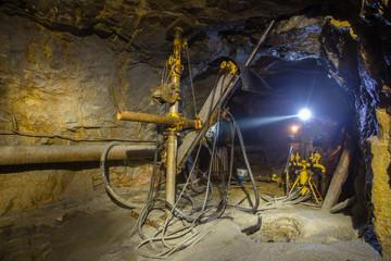 Underground gold mine ore drilling machine Berezovsky mine Ural