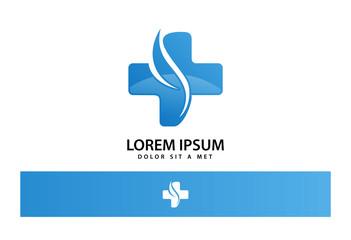 Cross Leaf Medical Logo Vector