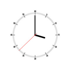 Vector clock illustration on a white background. Vector art.
