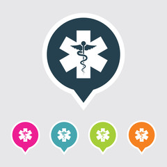 Very Useful Editable Medical Symbol Icon on Different Colored Pointer Shape. Eps-10.