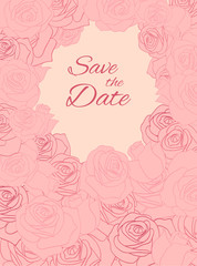 Postcard with pink delicate roses and place for text