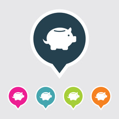 Very Useful Editable Piggy Bank Icon on Different Colored Pointer Shape. Eps-10.