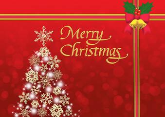 雪の結晶のクリスマスツリー メリークリスマス 赤いリボン