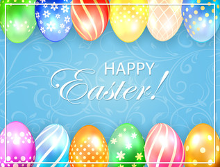 Blue Easter background with colored eggs