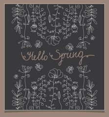 monochrome linear floral with butterfly with the words Hello spring on a dark background