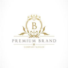Luxury Crest logo with B letter design for hotel and fashion brand identity