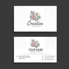 Horizontal business card or visiting card set.