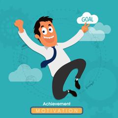 Businessman achieve his success goal.