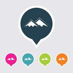 Very Useful Editable Mountains Icon on Different Colored Pointer Shape. Eps-10.